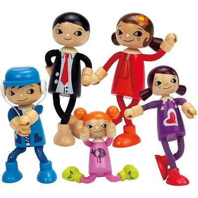 Hape Modern Family of 5 Wooden Bendable Posable Toy Doll Set with Mom, Dad, Son, Daughter, and Younger Daughter Figures for Kids Ages 3 Years and Up