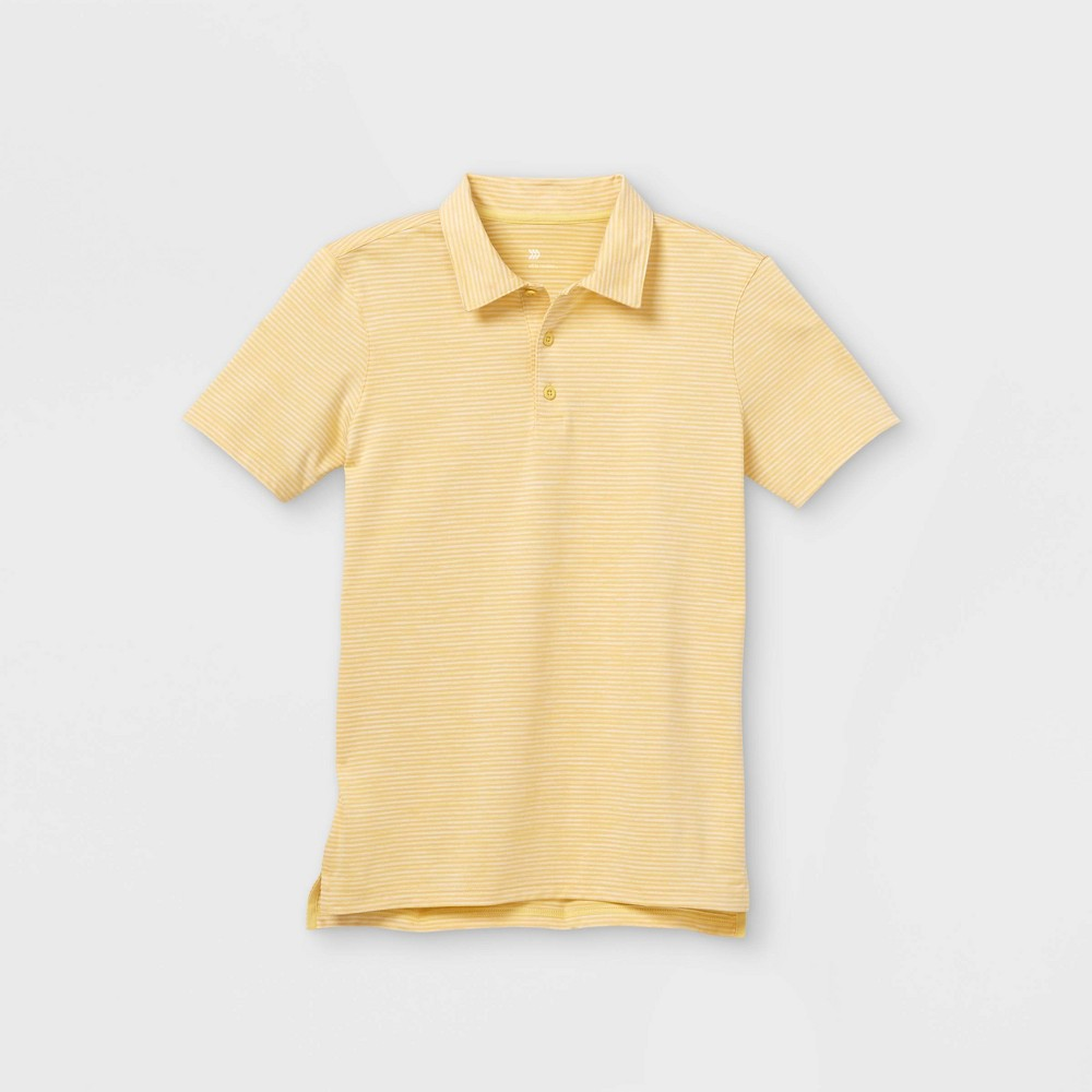 Boys 39 Striped Golf Polo Shirt All In Motion 8482 Heather Yellow L