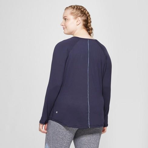 eca5d1e345540 Women s Plus Size Long Sleeve Soft T-Shirt- C9 Champion® Xavier Navy 3X    Target