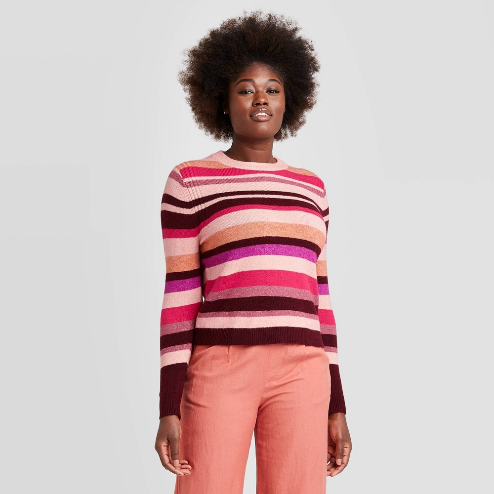 Vintage Sweaters, Retro Sweaters & Cardigan Ladies Womens Striped Crewneck Pullover Sweater - A New Day Coral XXL Pink $20.00 AT vintagedancer.com