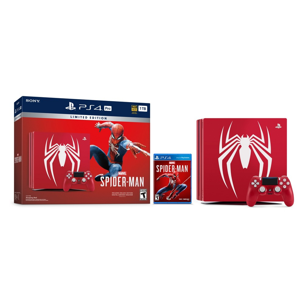 PlayStation 4 Pro 1 TB Marvel's Spider-Man Limited Edition Bundle, Red