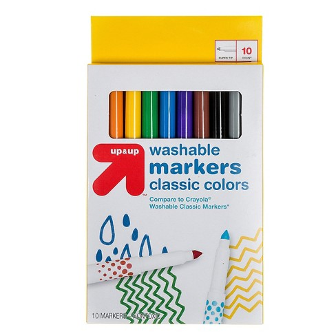 Markers Fine Tip Washable Classic Colors 10ct (Compare to Crayola® Washable  Classic Markers) - Up&Up™