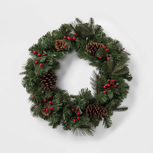 Image Christmas Wreath.24 Prelit Battery Operated Led Red Berry And Pinecones Artificial Mixed Pine Christmas Wreath Wondershop