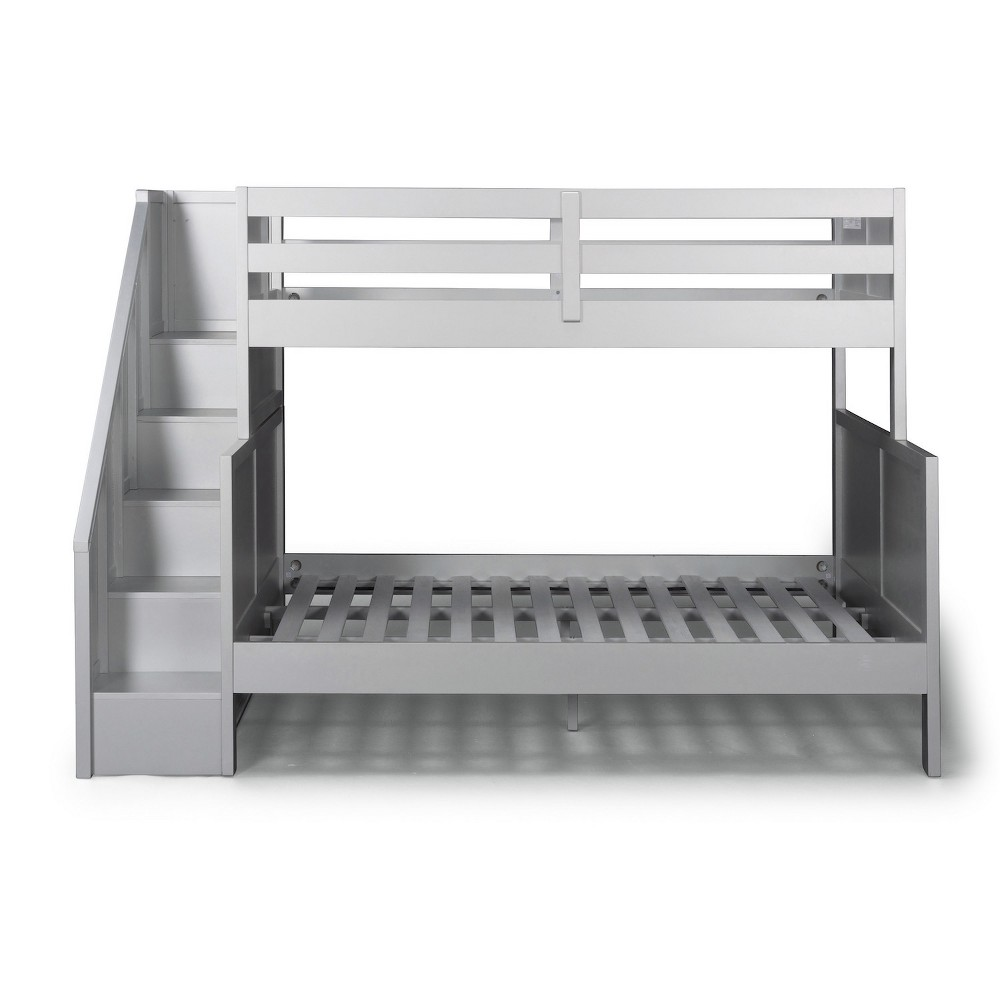 Venice Twin over Full Bunk Bed with Steps Silver/Gray - Home Styles
