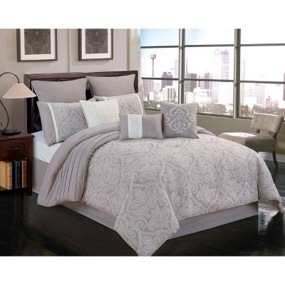 9pc Winthrop Comforter Set Gray & Ivory - Riverbrook Home