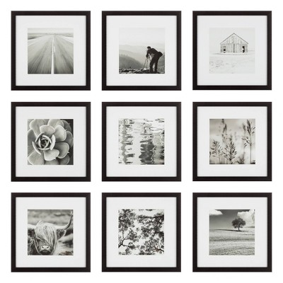 "(Set of 9)12"" x 12"" Gallery Grid Kit Black - Instapoints"