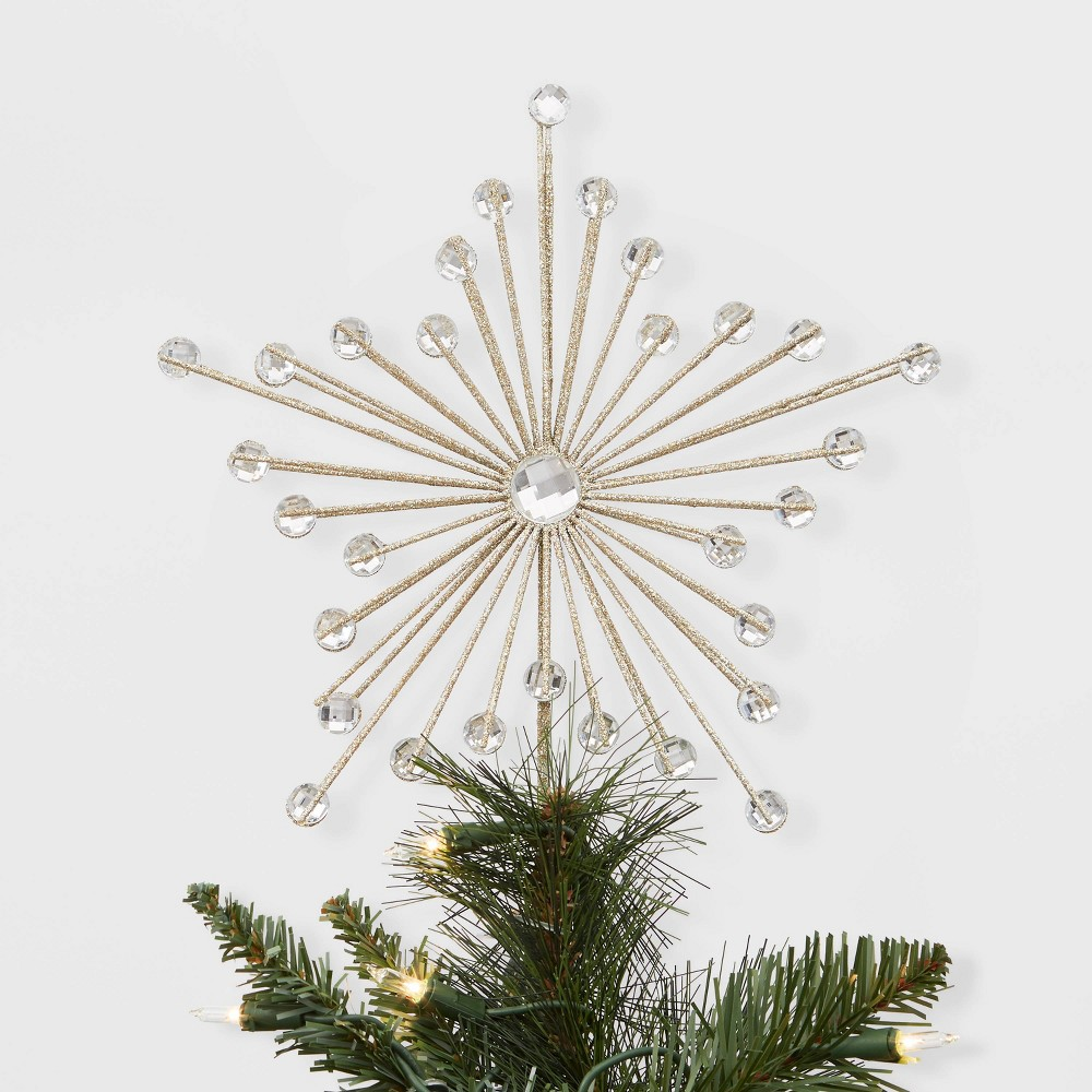 """Image of """"11.5"""""""" x 9"""""""" Unlit Wire Starburst Christmas Tree Topper with Clip Gold - Wondershop"""""""