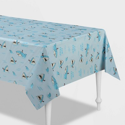 "54""x84"" Shark Printed Plastic Table Cover Blue - Spritz™"