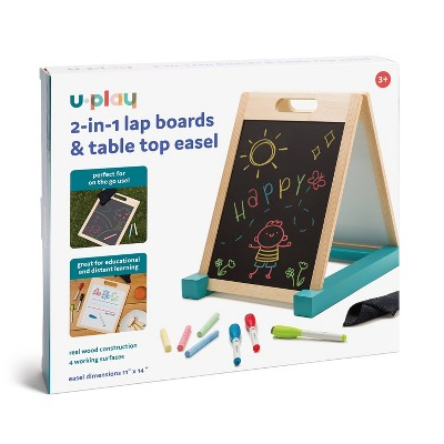 U Brands Uplay 2-in-1 Lap Boards & Table Top Easel with Markers, Chalk, and Eraser