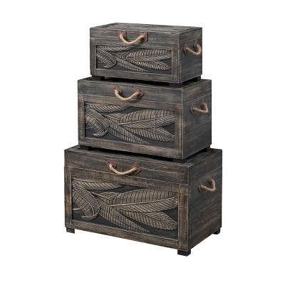 Set of 3 Tropics Nesting Trunks - Treasure Trove Accents