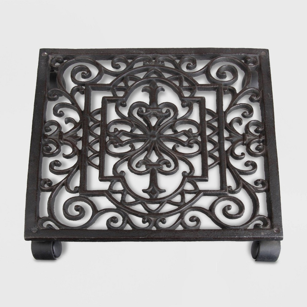 Image of 12 Square Iron Filigree Plant Trolley Brown - Esschert Design