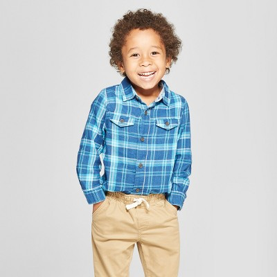 Toddler Boys' Long Sleeve Plaid Button-Down Shirt - Cat & Jack™ Teal 12M