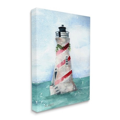 Stupell Industries Nautical Holiday Lighthouse Christmas Candy Cane Stripes