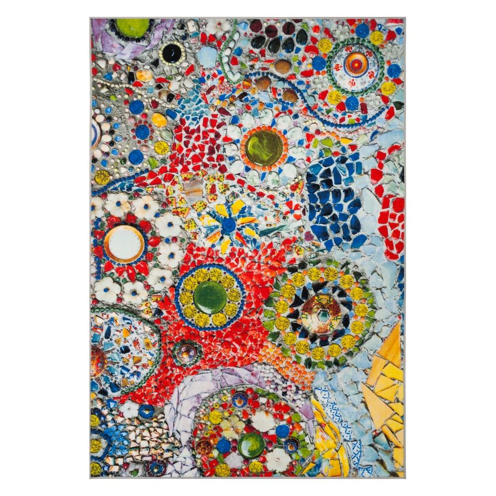 6'7X9' Mosaic Design Loomed Area Rug Light Gray - Safavieh, Multicolored