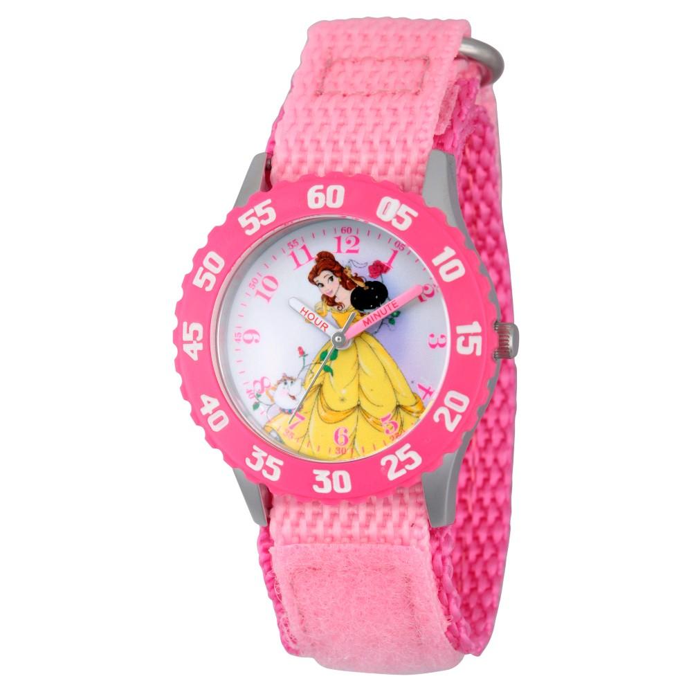 Girls' Disney Princess Belle Stainless Steel Time Teacher Watch - Pink