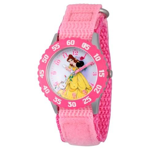 Girls' Disney Princess Belle Stainless Steel Time Teacher Watch - Pink - image 1 of 1
