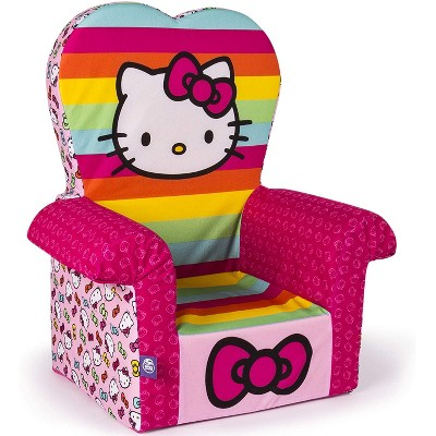 Marshmallow Furniture Comfy Foam Toddler Chair Kid's Furniture for Ages 2 Years Old and Up, Hello Kitty, Rainbow