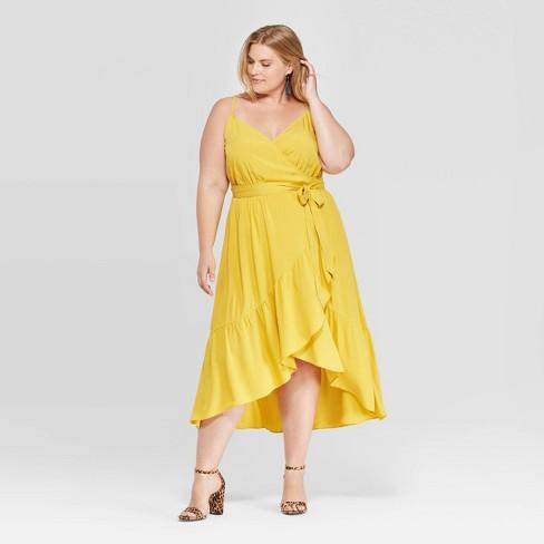 Women's Plus Size Sleeveless V-Neck Ruffle Wrap Dress - Ava & Viv™ Yellow - image 1 of 4