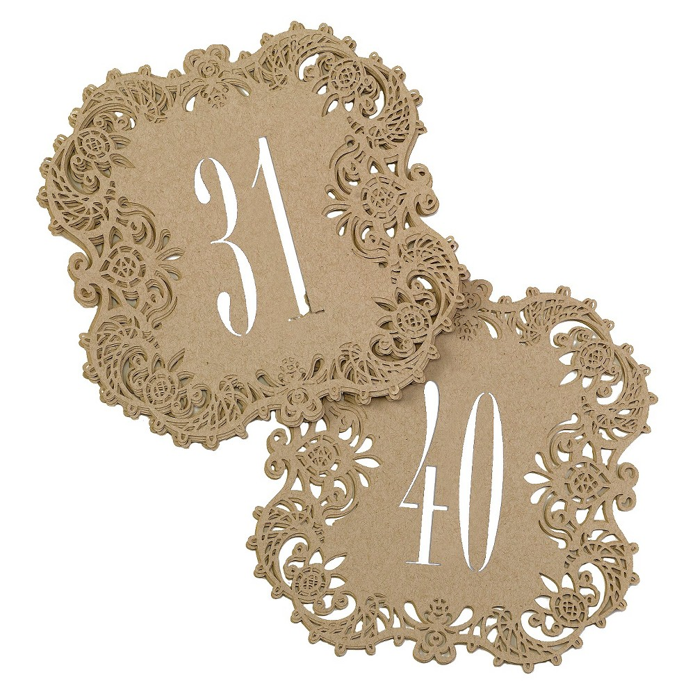 Laser Cut Table Number Cards (31-40) - Brown