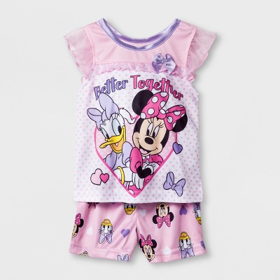 Baby Girls' Disney Mickey Mouse & Friends Minnie Mouse 2pc Poly Pajama Set - Pink/White 12M