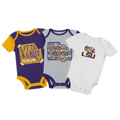 NCAA LSU Tigers Baby Boys' 3pc Bodysuit Set - 3-6M
