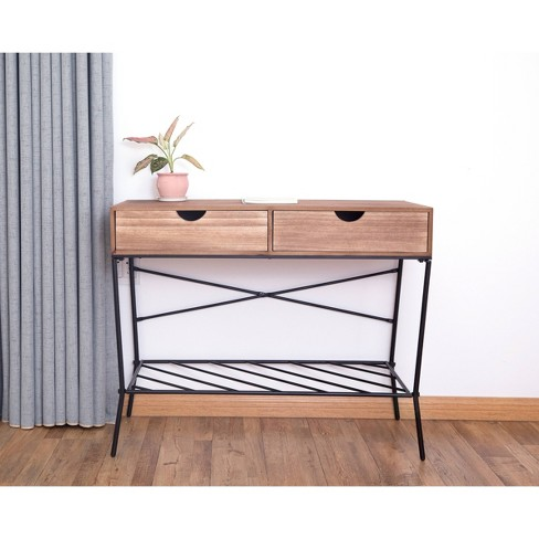 Wood And Metal Console Table With 2 Drawers And Storage Shelf Wood
