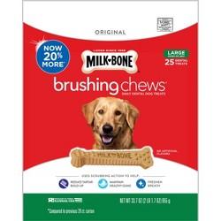 Milk-Bone Brushing Chews Daily Dental Dog Treats Large - 33.7oz/25ct per bag