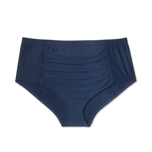 9f0508bc78b Women s Plus Size Ruched High Waist Bikini Bottom - Sea Angel Navy ...