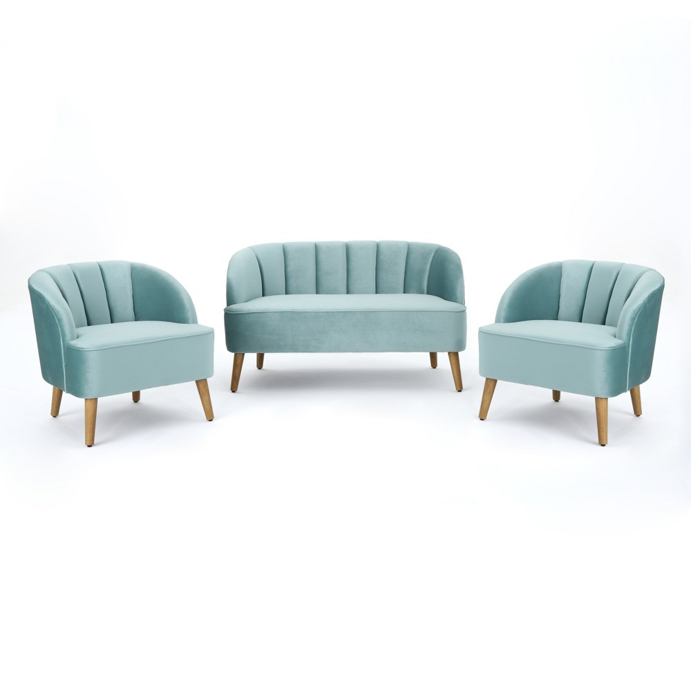 Amaia 3pc Modern New Velvet Chat Set Seafoam Blue - Christopher Knight Home