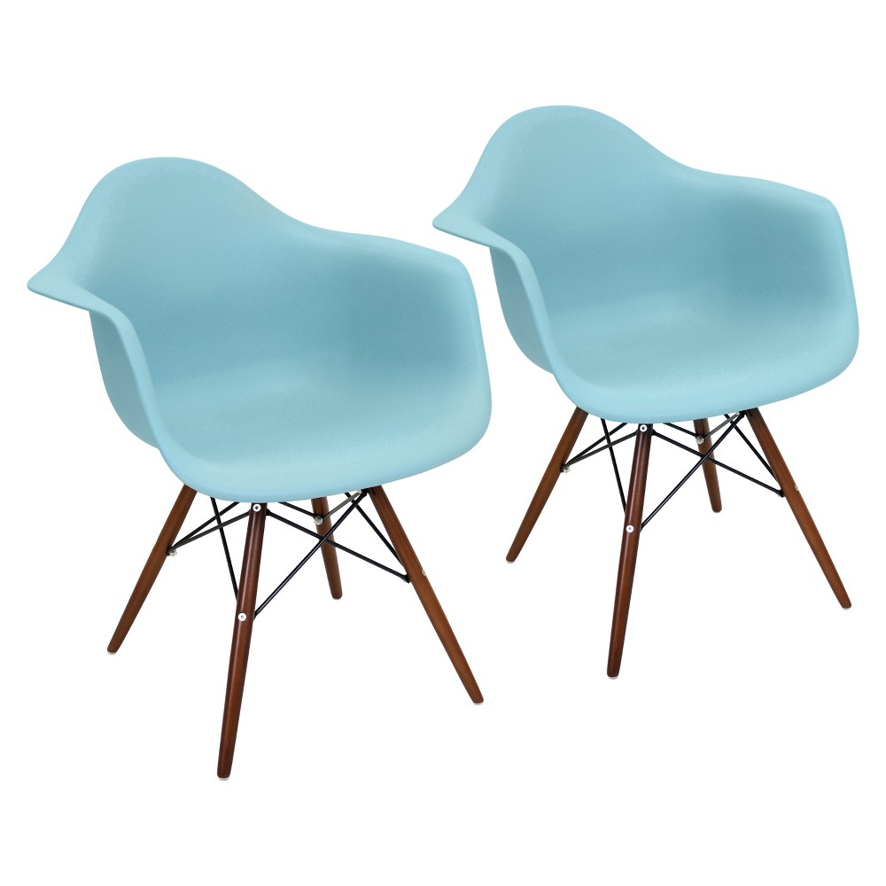 Set of 2 Neo Flair Mid Century Modern Espresso Wood Legged Dining Chair Polycarbonate/Sea Green - LumiSource