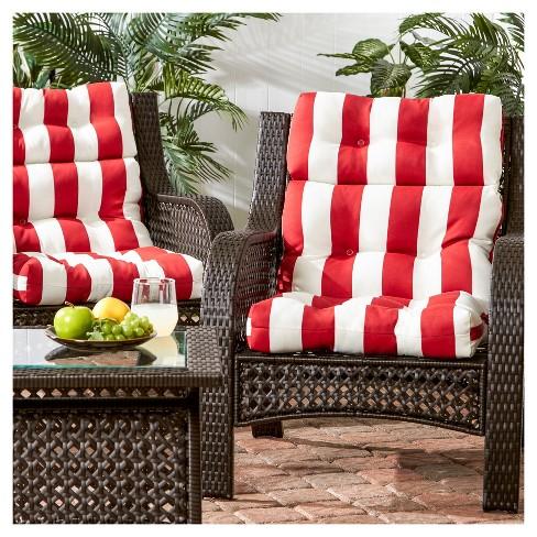 Set Of 2 Cabana Stripe Red Outdoor High Back Chair Cushions Kensington Garden