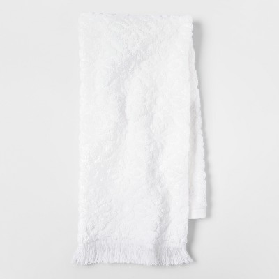 Soft Jacquard Accent Hand Towel White - Opalhouse™