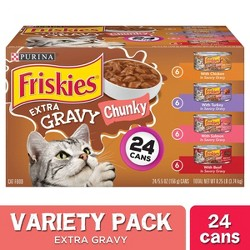 Purina Friskies Gravy Wet Cat Food Variety Pack, Extra Gravy Chunky - 24ct