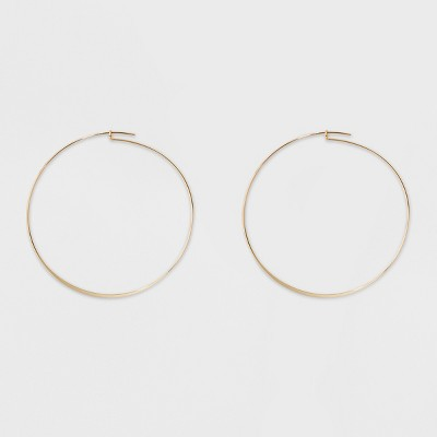 Large Flat Hoop Earrings - A New Day™ Gold