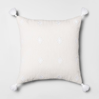 Embroidered Diamond Oversize Square Throw Pillow Gray - Opalhouse™