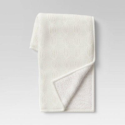 """50""""x60"""" Chenille Cable Knit Throw Blanket with Sherpa Reverse Cream - Threshold™"""
