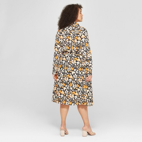 682359137f3 Women s Plus Size Floral Print Long Convertible Sleeve Button Detailed  Shirtdress - Who What Wear™ Black Brown 4X   Target