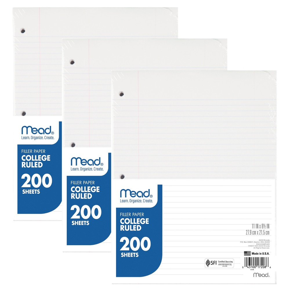 24pk 200ct Filler Paper College Ruled 11 x 8.5 - Mead, White
