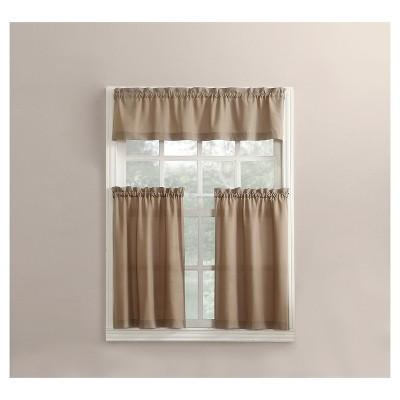 Martine Microfiber Semi Sheer Rod Pocket Kitchen Curtain Valance and Tiers Set - No. 918