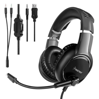 Insten Wired Gaming Headset for PlayStation 4/5, Xbox Series X/S, Nintendo Switch, PC - Black