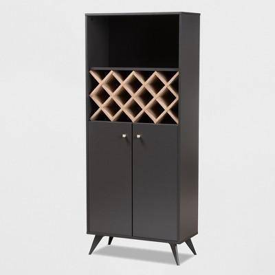 Serafino and Oak Finished Wood Wine Cabinet Gray/Brown - BaxtonStudio