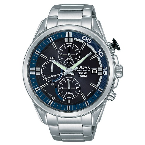 Men's Pulsar Solar Chronograph - Silver Tone with Black Dial - PZ6021 - image 1 of 1