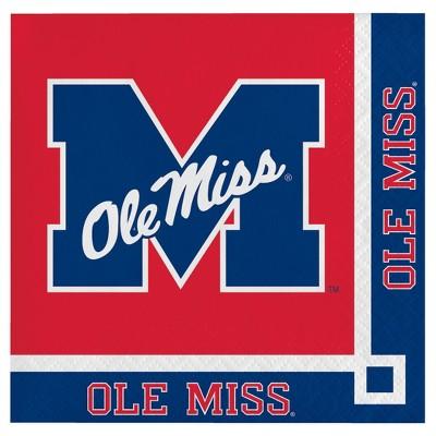 20ct Ole Miss Rebels Cocktail Beverage Napkins - NCAA