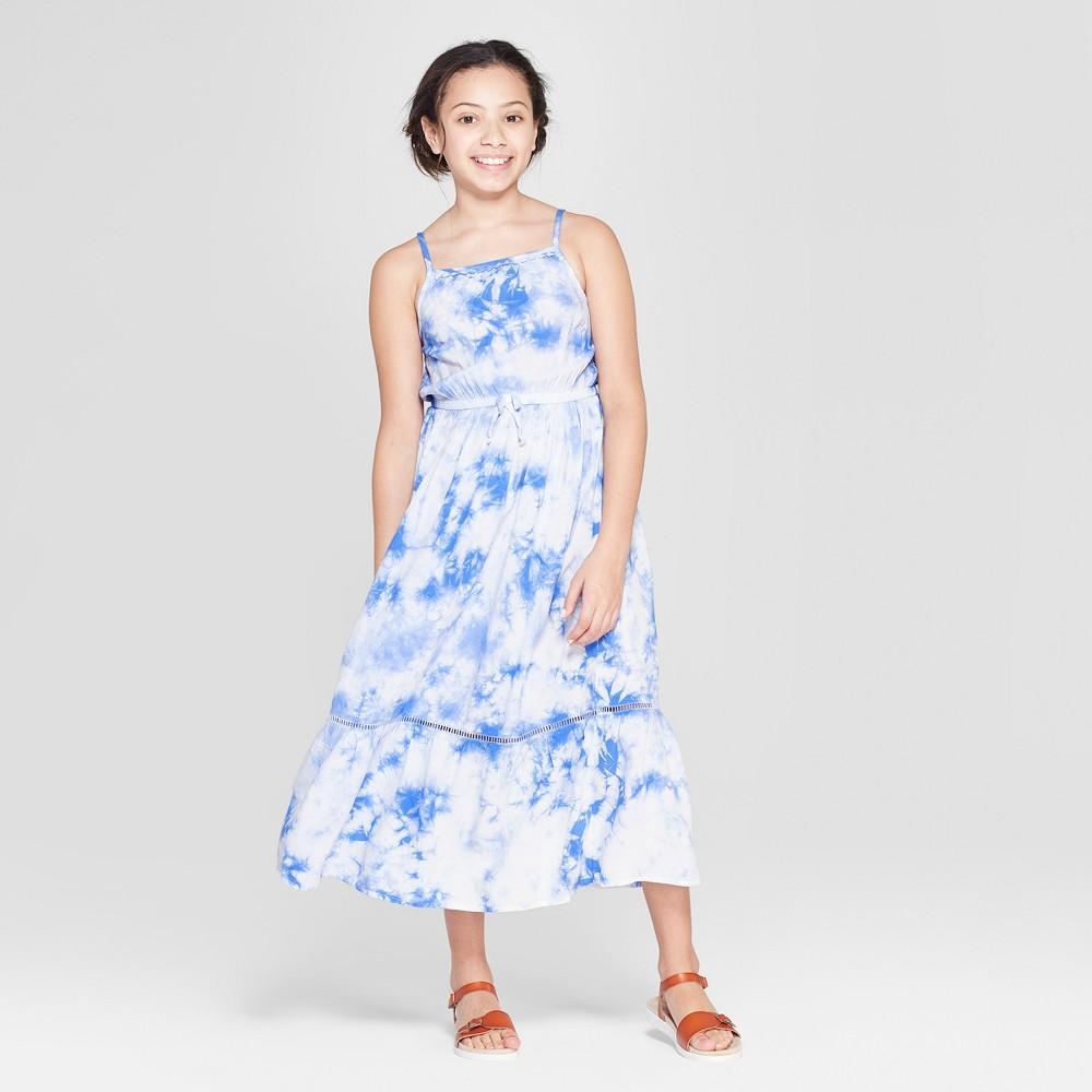 Girls' Tie Dye Woven Maxi Dress - Cat & Jack Blue M