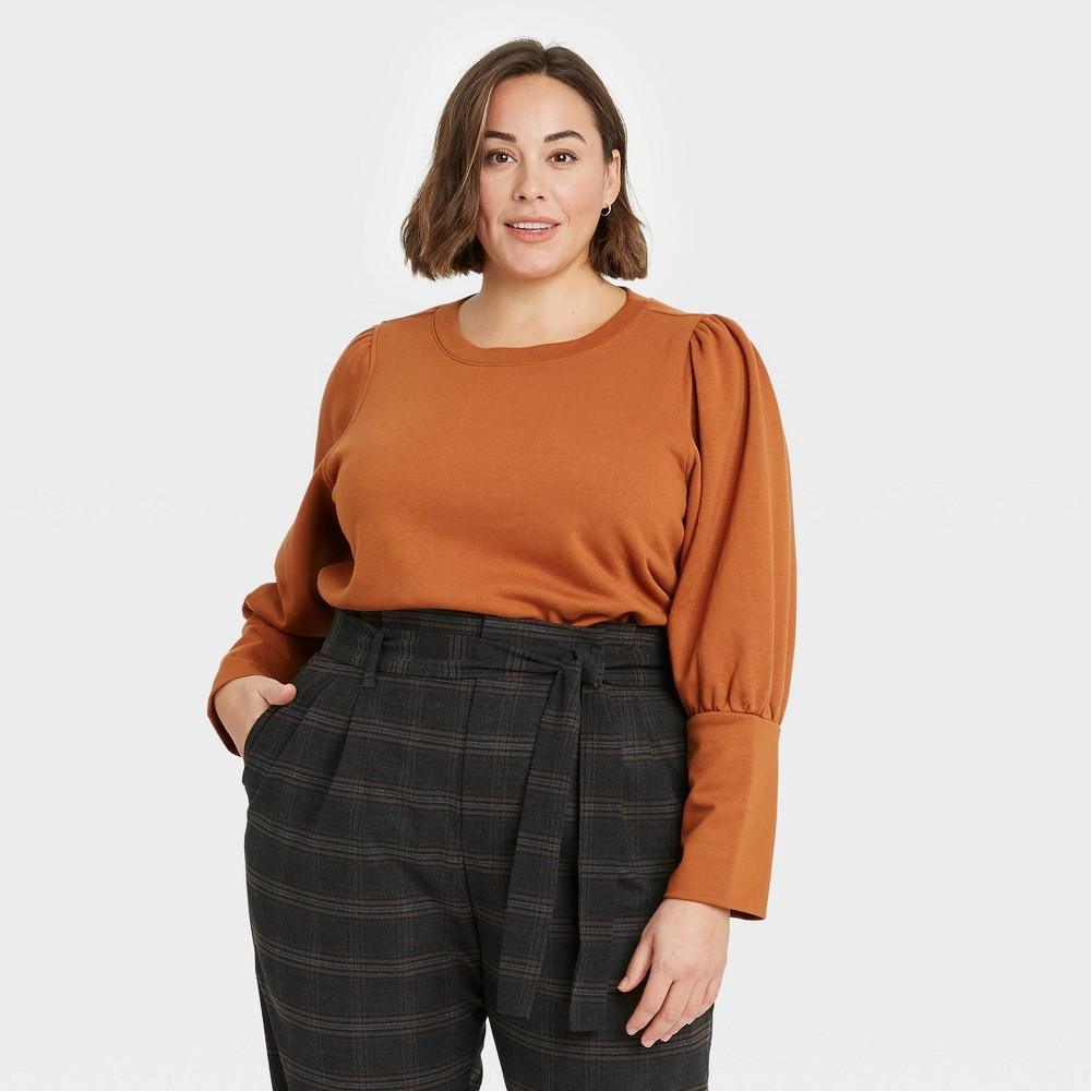 Women 39 S Plus Size High Cuff French Terry Sweatshirt A New Day 8482 Brown 3x
