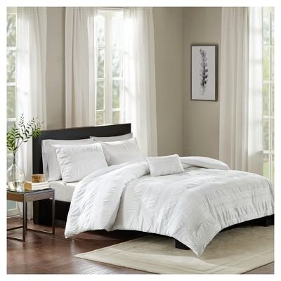 White Amari Cotton Seersucker Duvet Cover Set (King/California King)4pc