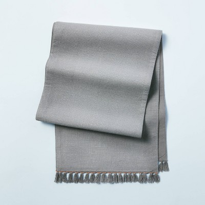 Contrast Edge Stitch Table Runner with Fringe Gray - Hearth & Hand™ with Magnolia