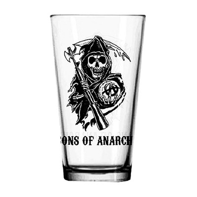 Just Funky Sons of Anarchy Logo Clear Pint Glass