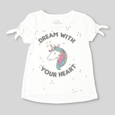 712fba79fd3 L.O.L. Vintage Toddler Girls  Unicorn Graphic Short Sleeve T-Shirt - Ivory