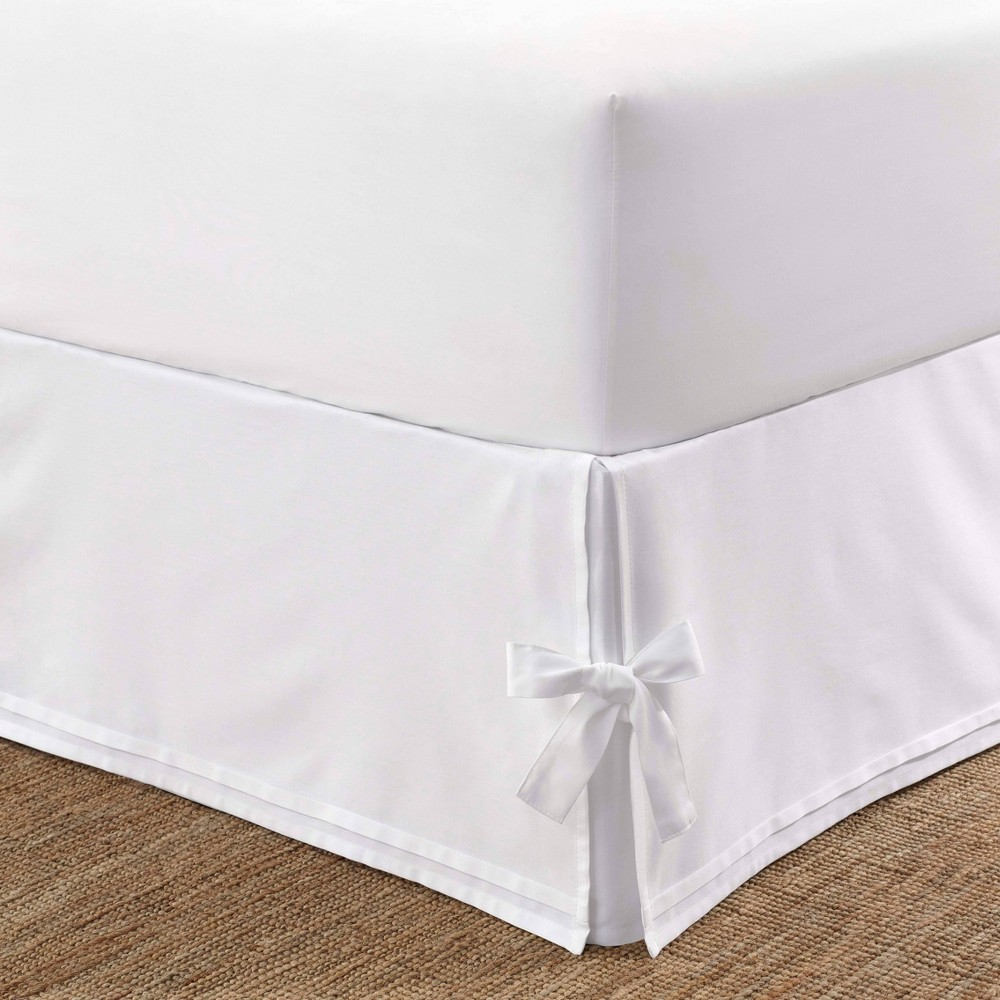 Image of Laura Ashley King Corner Ties Tailored Bedskirt White